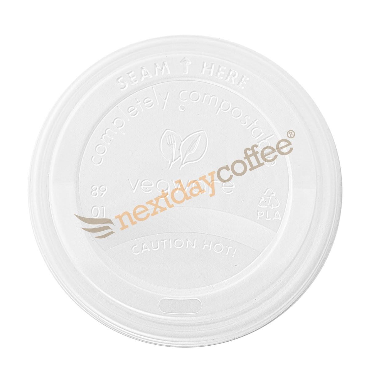 10/12/16oz Vegware White Compostable Sip Lids (1000)