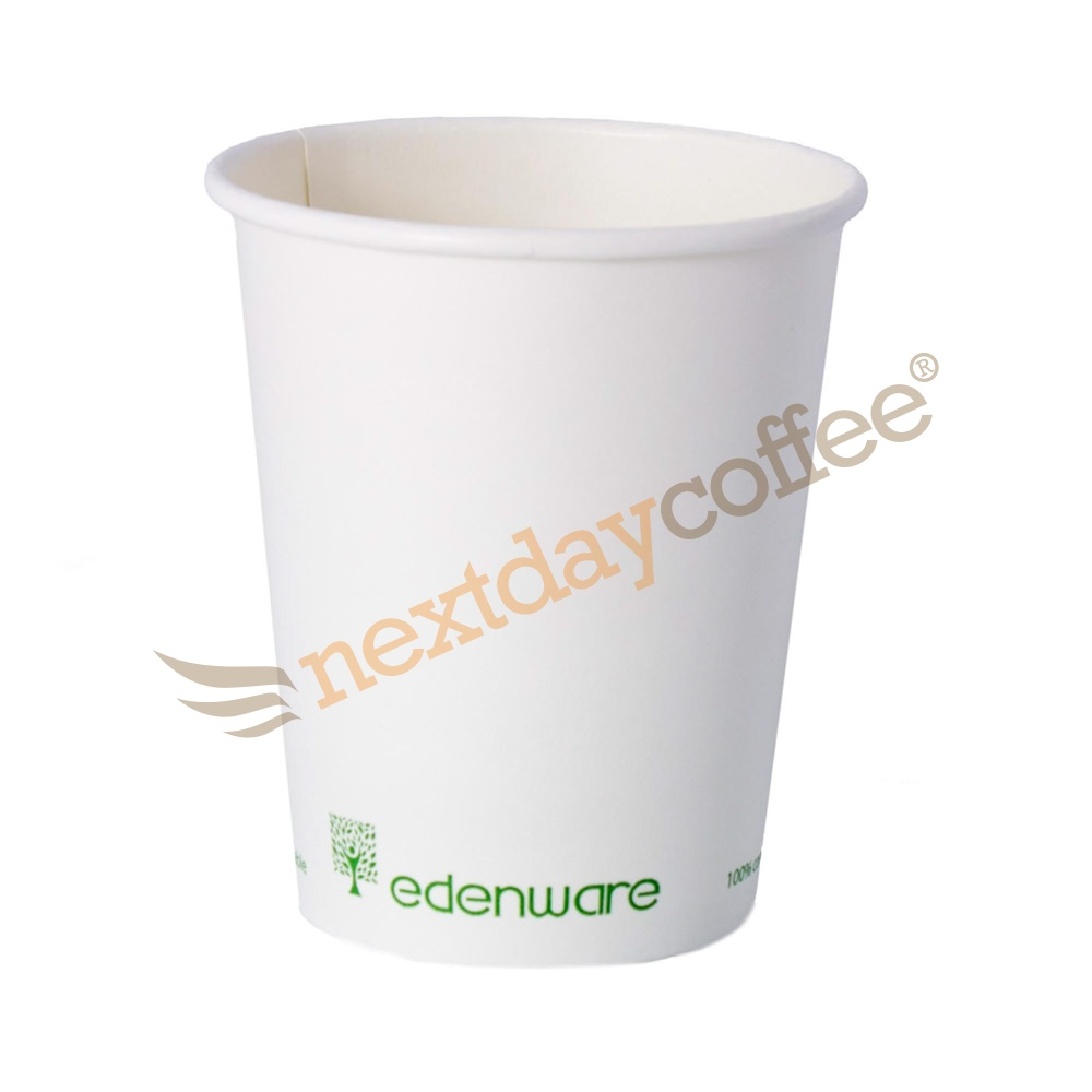 8oz Single Wall Compostable Edenware White Cup (100)