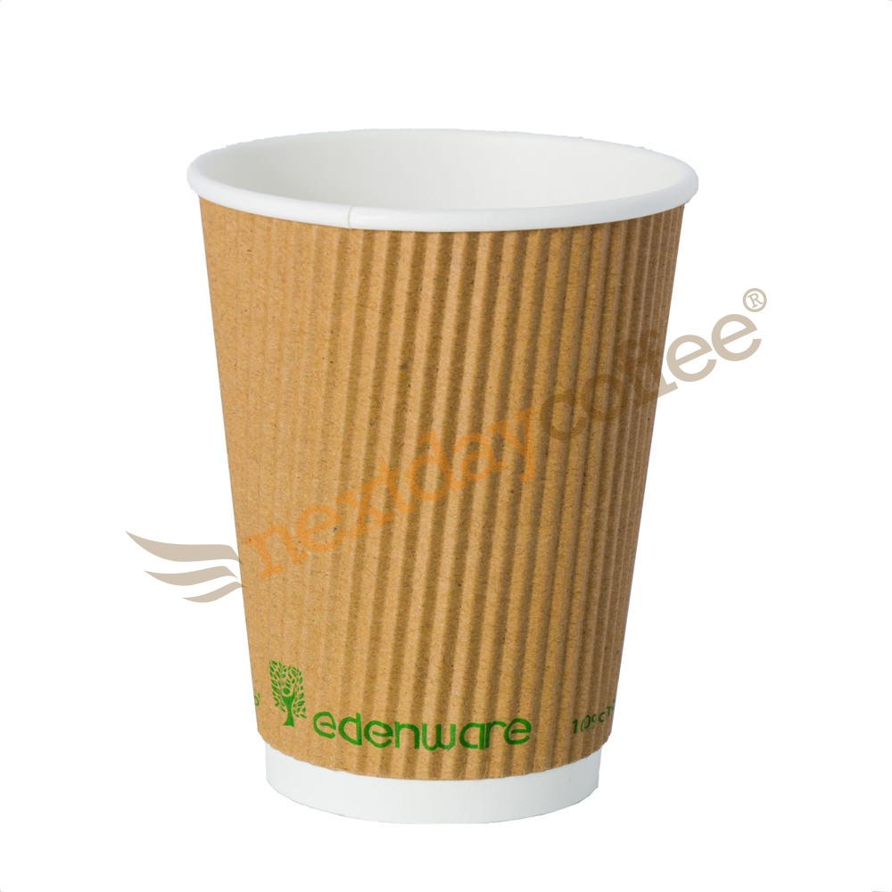 12oz Kraft Ripple Compostable Paper Cup (100)