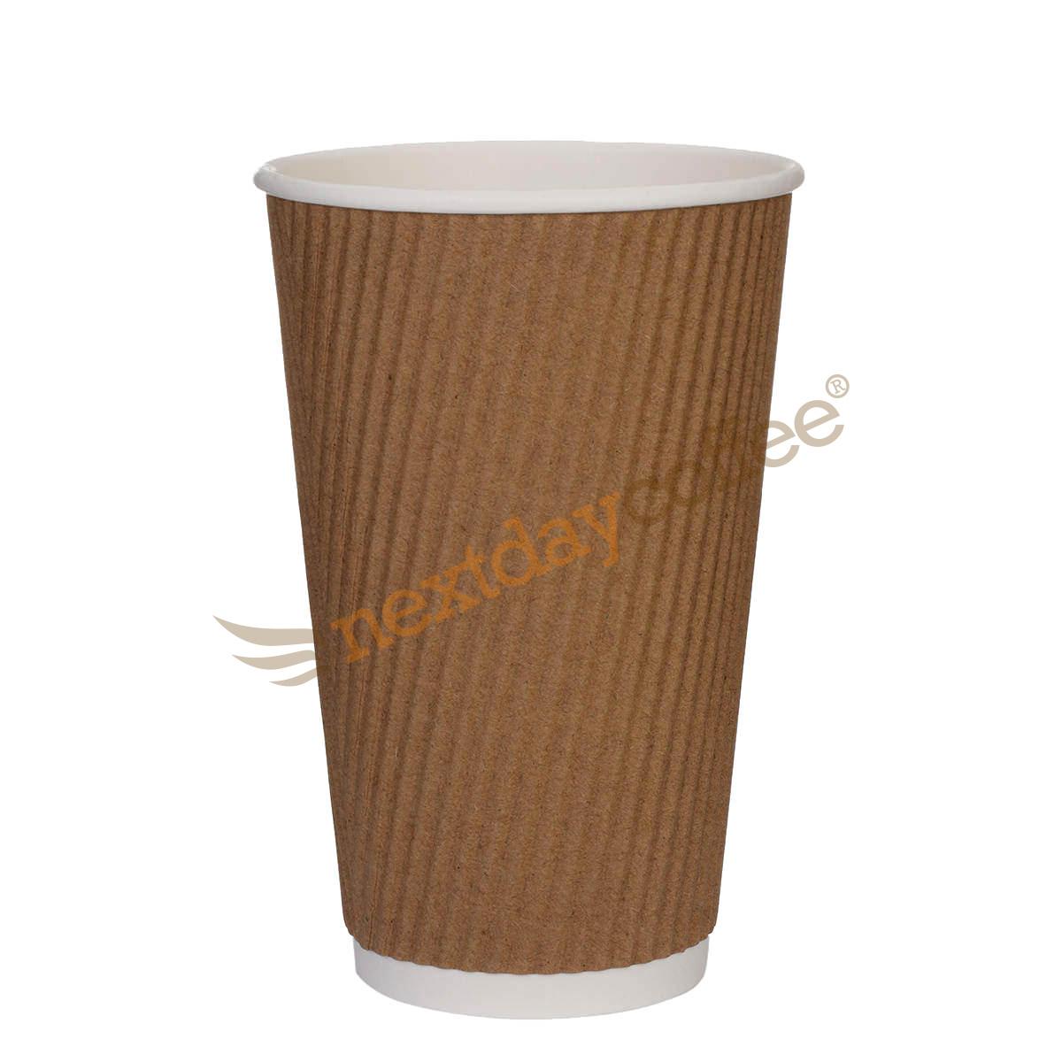 16oz Kraft Brown Ripple Cups (500)