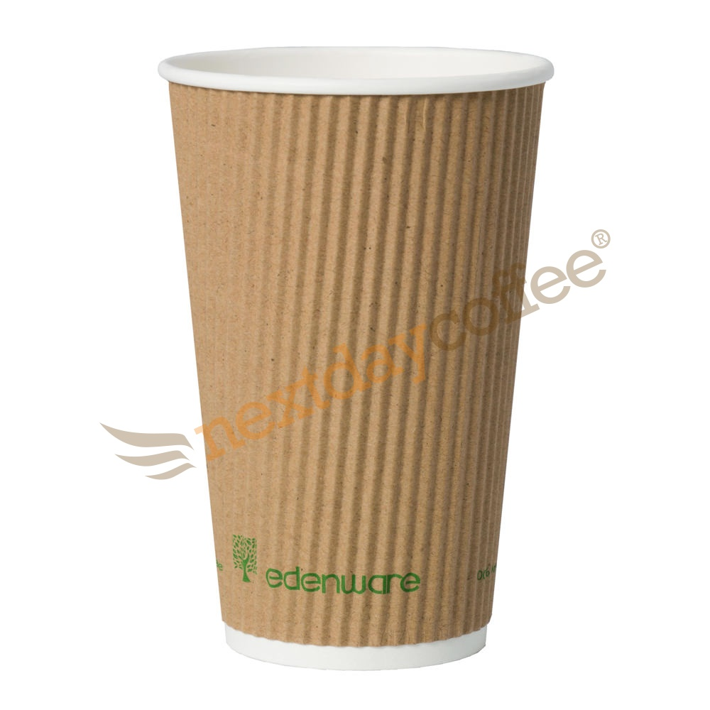 16oz Kraft Ripple Compostable Paper Cup (500)