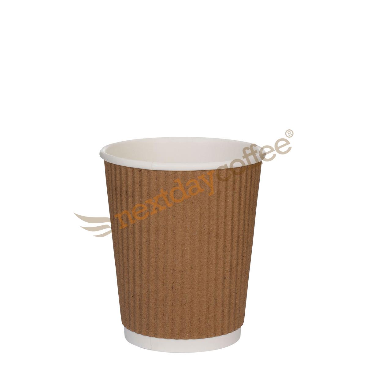 8oz Kraft Brown Ripple Cups (100)