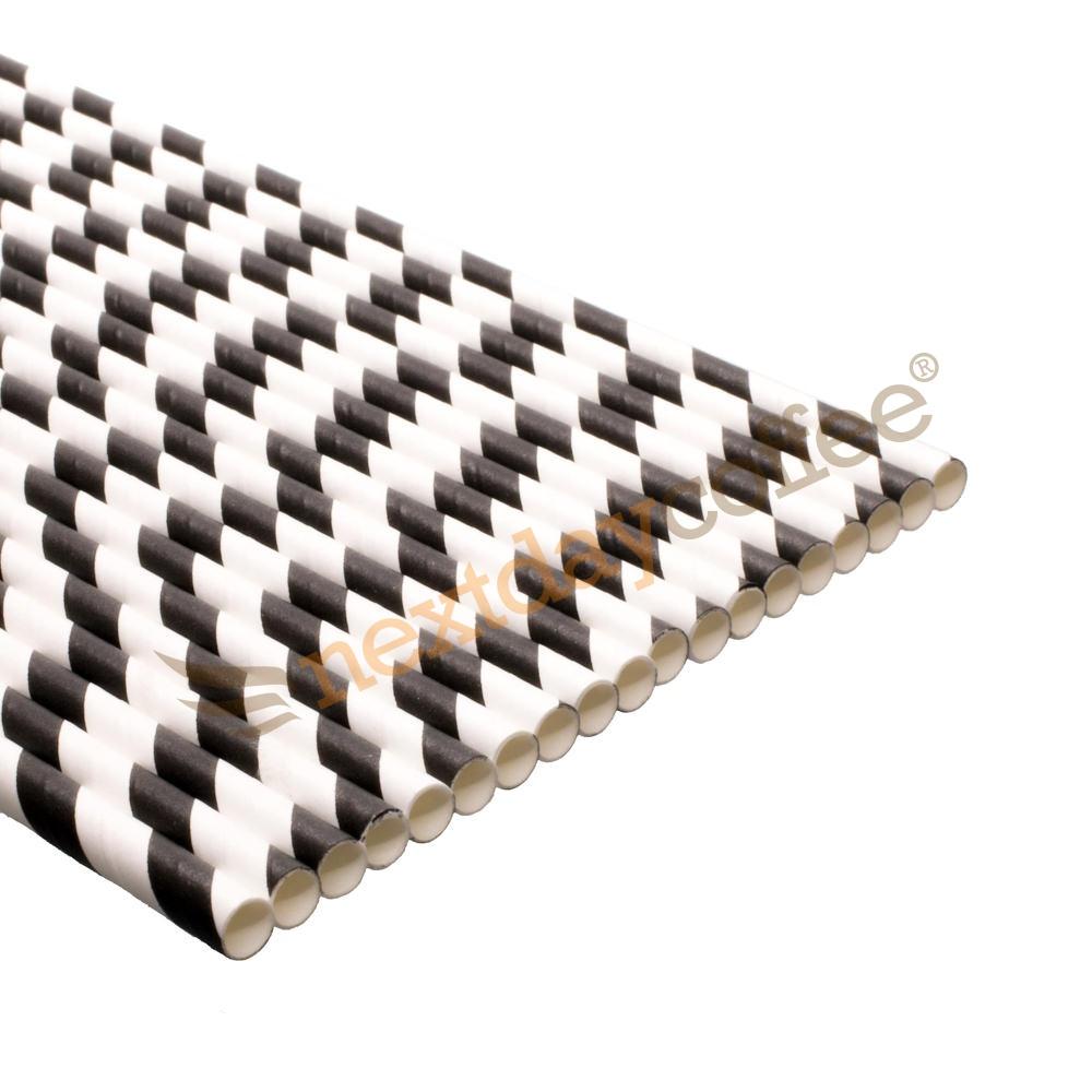 Biodegradable Paper Straws - Black Striped (250)