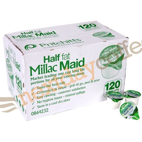 Millac Maid Half Fat Long Life Milk Pots (120)