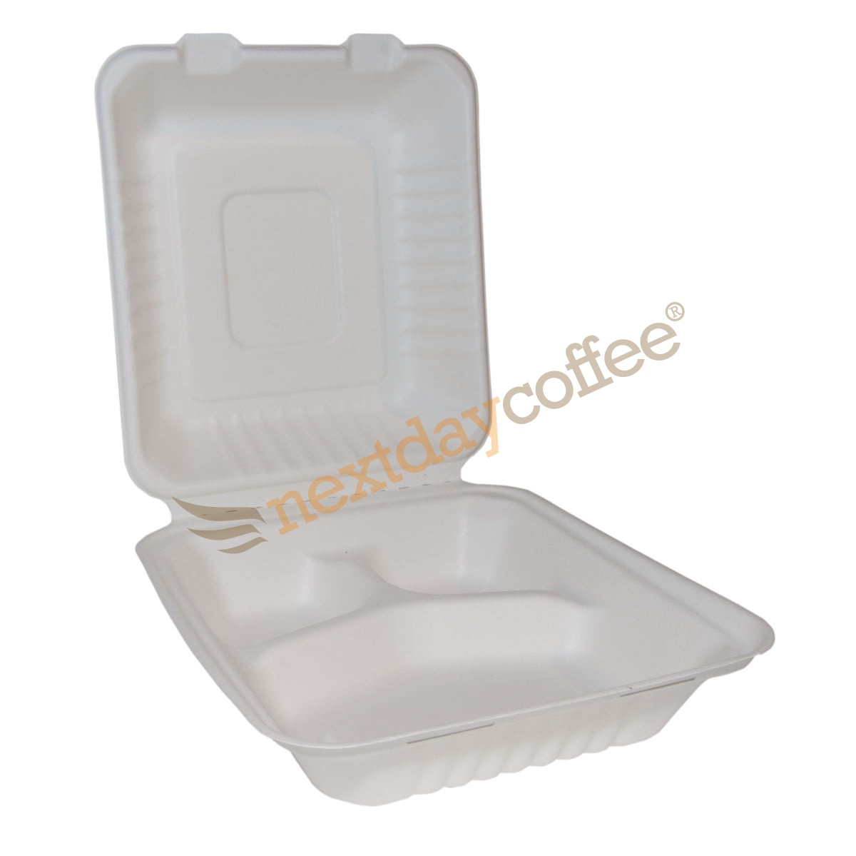 Bagasse Square Lunch Box with 3 Compartments (200)