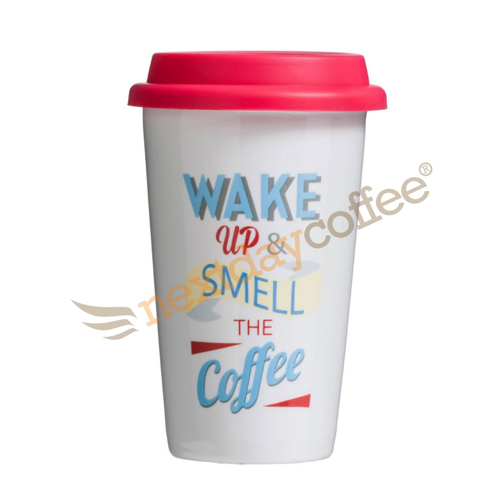 Travel Mug - Wake Up Design (330ml)
