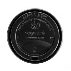 10/12/16oz Vegware Black Compostable Sip Lids (100)