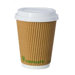 12oz Kraft Ripple Compostable Paper Cup (500)