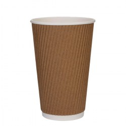 16oz Kraft Brown Ripple Cups (500)