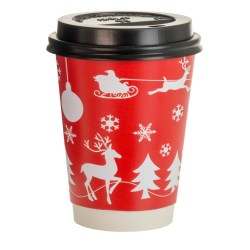 8oz Double Wall Cup - Festive Red Design (100)