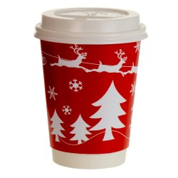 8oz Double Wall Cup - Festive Red Design (500)