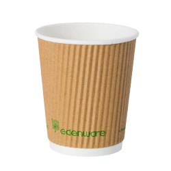8oz Kraft Ripple Compostable Paper Cup (100)