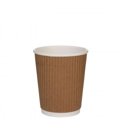 8oz Kraft Brown Ripple Cups (100)