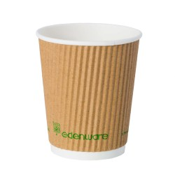 8oz Kraft Ripple Compostable Paper Cup (500)