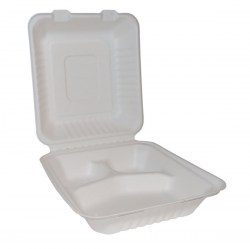 Bagasse Square Lunch Box with 3 Compartments (50)