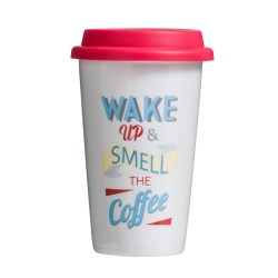 Travel Mug - Wake Up Design (330ml)