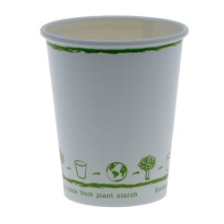 8oz White Single Wall Biodegradable Cups (1000)