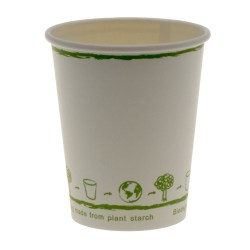 8oz White Single Wall Biodegradable Cups (100)