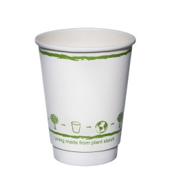 12oz White Double Wall Biodegradable Cups (100)