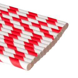 Biodegradable Paper Straws - Red Striped (250)