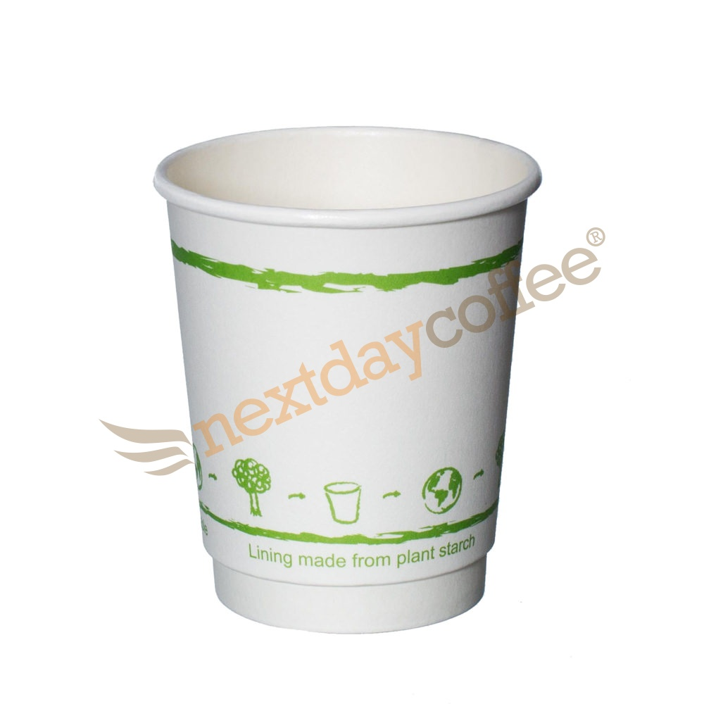 8oz White Double Wall Biodegradable Cups (100)